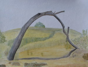 DUNES Arch, Cape Cod dunes, Russell Steven Powell watercolor on paper, 15x11