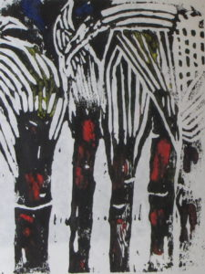 Ghost Corn, Russell Steven Powell linoprint, 10x8