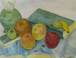 Still life with apples, Russell Steven Powell watercolor on paper, 15x11