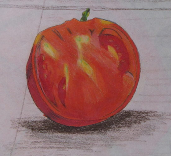 Sliced Tomato, Russell Steven Powell pencil on paper, 18x15