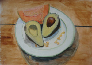 DUNES Still life with avocado, Russell Steven Powell watercolor on paper, 15x11