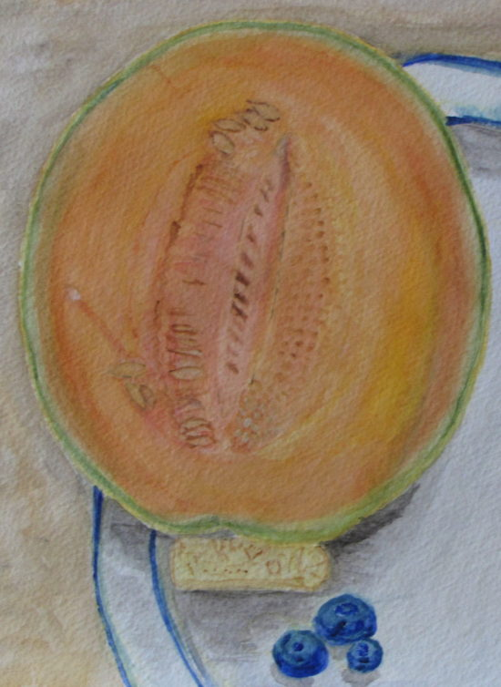 Still Life with Cantaloupe, Russell Steven Powell watercolor on paper, 15x11