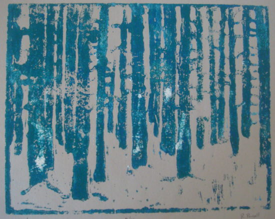 February Forest (2 of 4), Russell Steven Powell acrylic linoprint on paper, 8x10