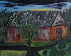 Chuggy's Barn 2, Russell Steven Powell oil on canvas, 16x20