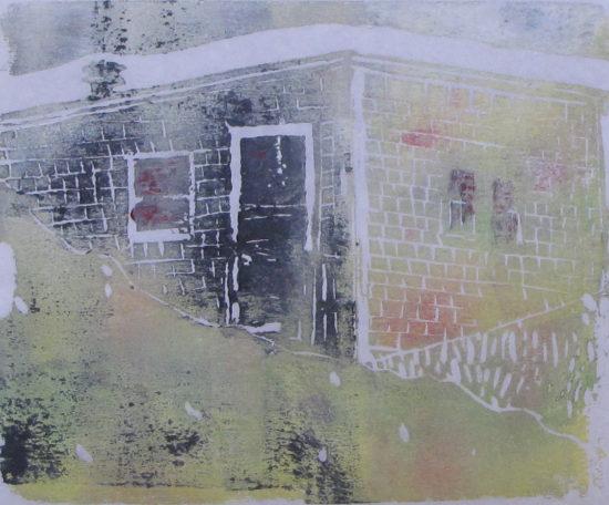 "Euphoria, June, 9 p.m., Russell Steven Powell acrylic on paper linoprint, 10""x8"""