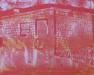 "Euphoria, June, 1 p.m., Russell Steven Powell acrylic on paper linoprint, 10""x8"""