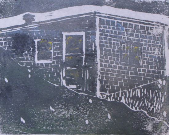 "Euphoria, June, 10 p.m., Russell Steven Powell acrylic on paper linoprint, 10""x8"""