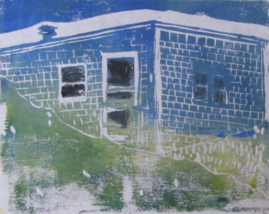 "Euphoria, June, 7 p.m., Russell Steven Powell acrylic on paper linoprint, 10""x8"""