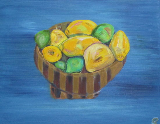 Lemons and Limes with Grapefruit, Russell Steven Powell oil on canvas, 20x16