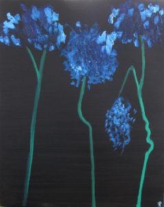 Blue Hydrangea, Russell Steven Powell oil on canvas, 30x24