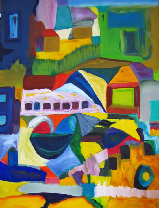 Mountain Village, Russell Steven Powell oil on canvas, 30x40