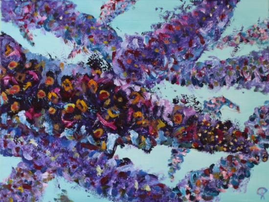 Butterfly Bush I, Russell Steven Powell oil on canvas, 14x11