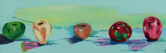 Five apples, Russell Steven Powell oil on canvas, 12x36