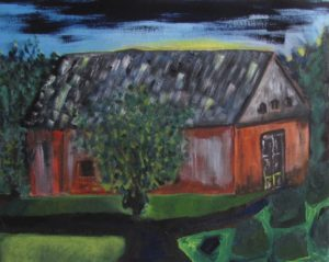Chuggy's Barn II, Russell Steven Powell oil on canvas, 16x20