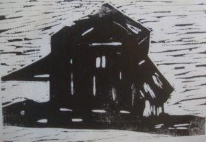 Dakota Barn, Russell Steven Powell acrylic linoprint, 8x10