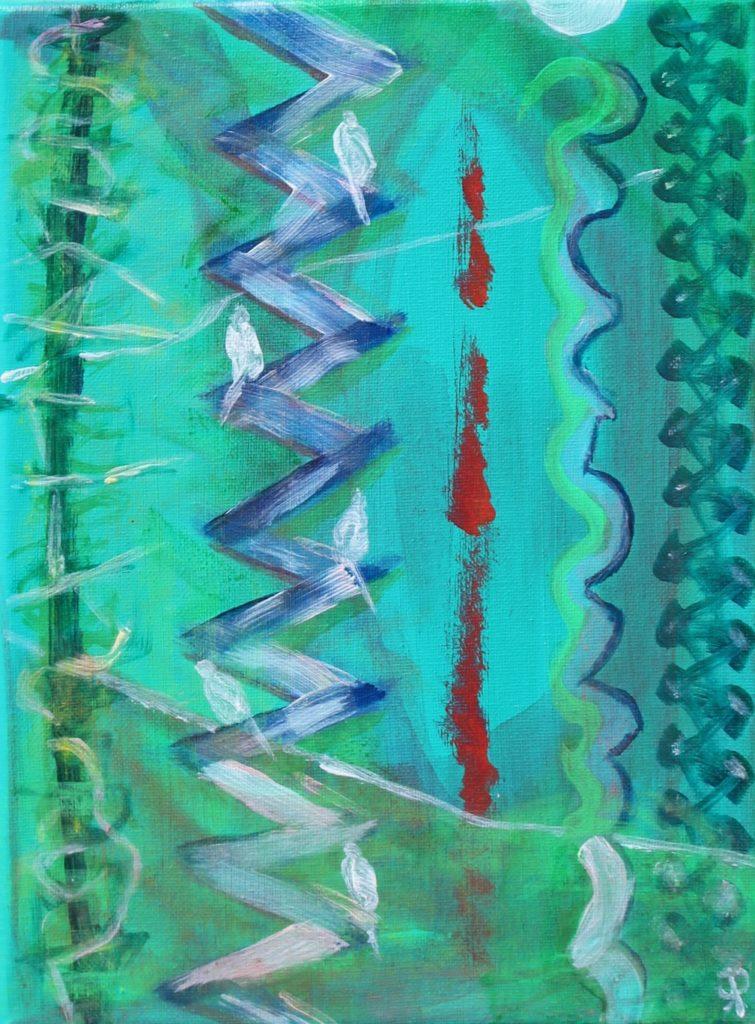 15 Florida18, Birds Four, Russell Steven Powell acrylic on canvas, 12x9