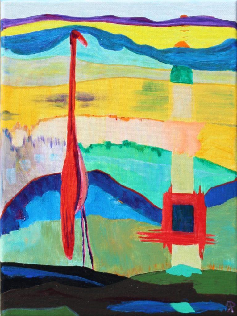 4 Florida18, Bird One, Russell Steven Powell acrylic on canvas, 12x9