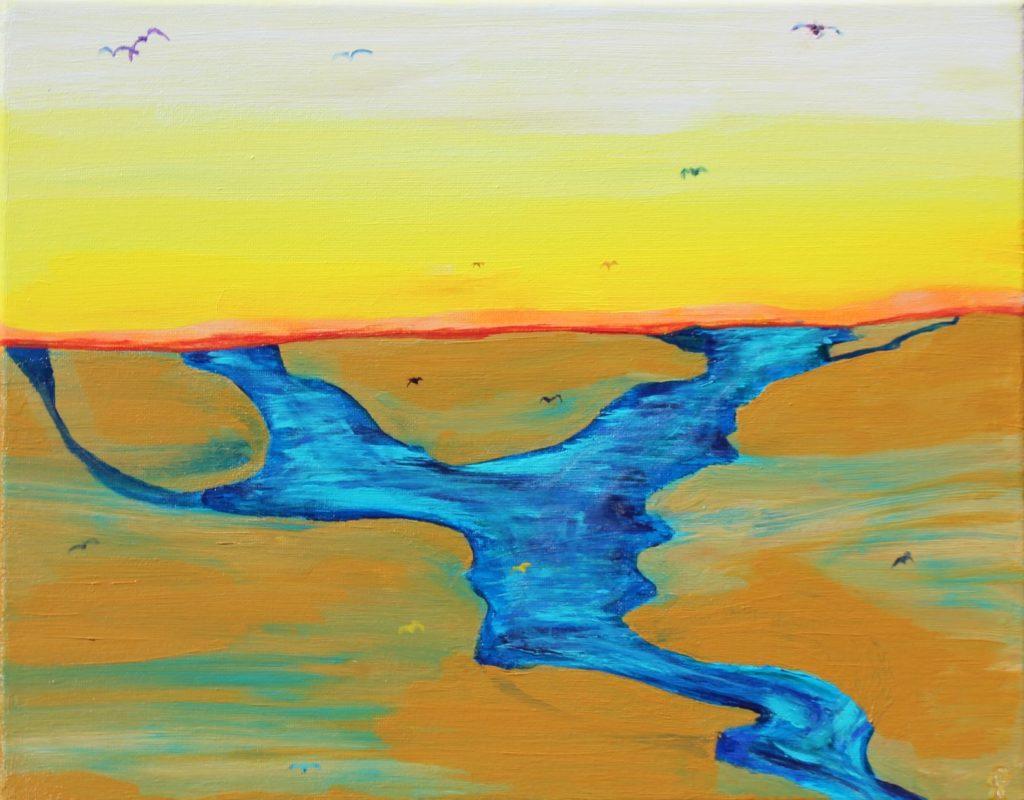 9 Florida18, Birds Three, Russell Steven Powell acrylic on canvas, 11x14
