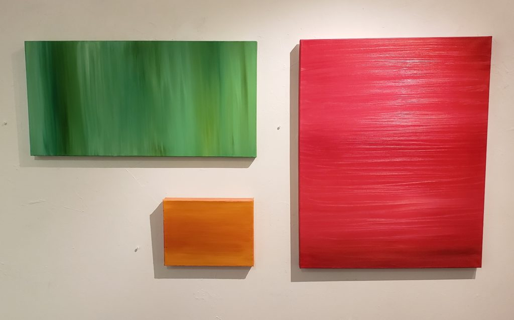 Green, 15x30, Orange, 9x12, Red, 30x24, Russell Steven Powell oil on canvas