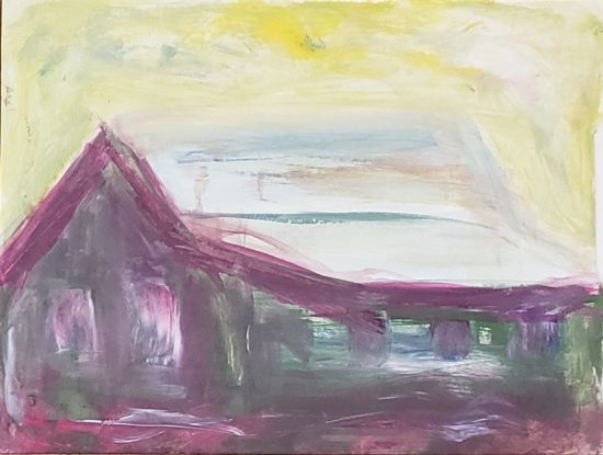 Barn 3, Russell Steven Powell acrylic on paper, 9x12