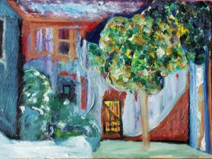 Barn 6, Russell Steven Powell oil on canvas board, 12x16