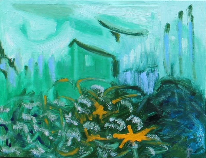 Shrouded Barn, Russell Steven Powell oil on canvas board, 9x12