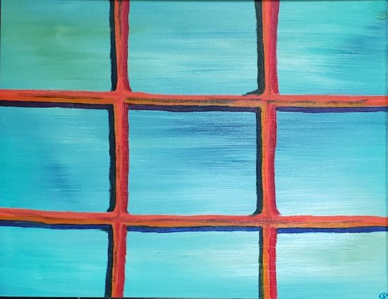 Nine Panes, Russell Steven Powell oil on canvas, 14x18