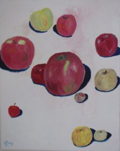 Floating Apples, Russell Steven Powell oil on canvas, 20x16