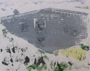 "Euphoria, June, 3 p.m., Russell Steven Powell acrylic on paper linoprint, 10""x8"""