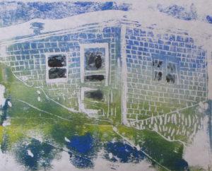 "Euphoria, June, 5 p.m., Russell Steven Powell acrylic on paper linoprint, 10""x8"""