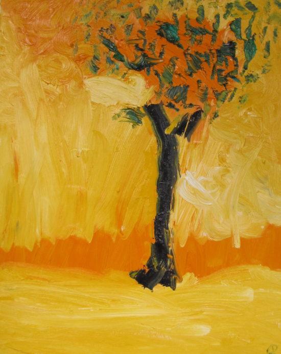 Flaming Oak, Russell Steven Powell oil on canvas, 20x16