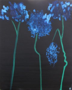 Blue Hydrangea, Russell Steven Powell oil on canvas, 30x24
