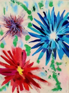 Three Flowers, Russell Steven Powell oil on canvas, 24x18