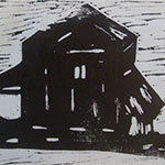 Dakota Barn, acrylic linoprint, 8x10