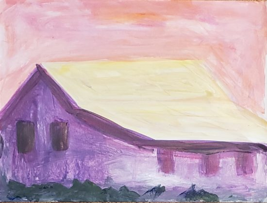 Barn 2, Russell Steven Powell acrylic on paper, 9x12