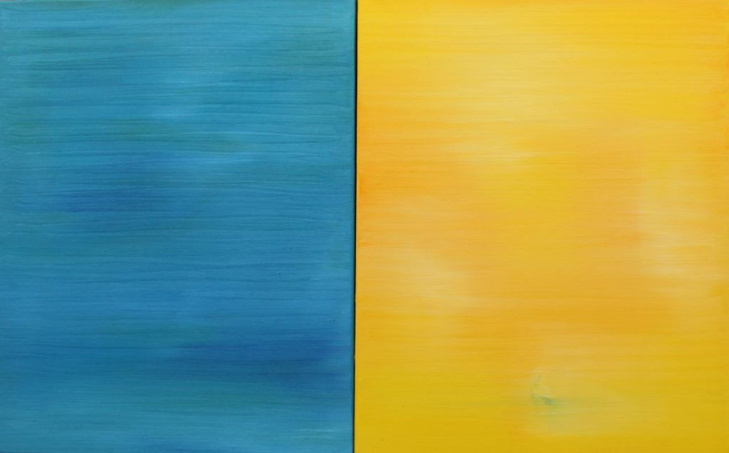 Blue Yellow (diptych), Russell Steven Powell oil on canvas, 20x32