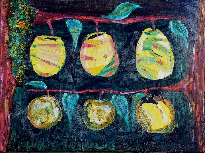 Six Apples, Russell Steven Powell oil on canvas, 11x14