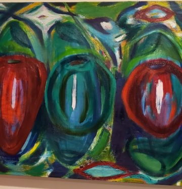 Three Apples, Russell Steven Powell oil on canvas, 24x18