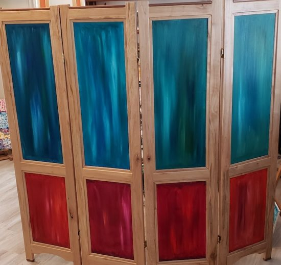 Folding screen, back, Russell Steven Powell acrylic on wood