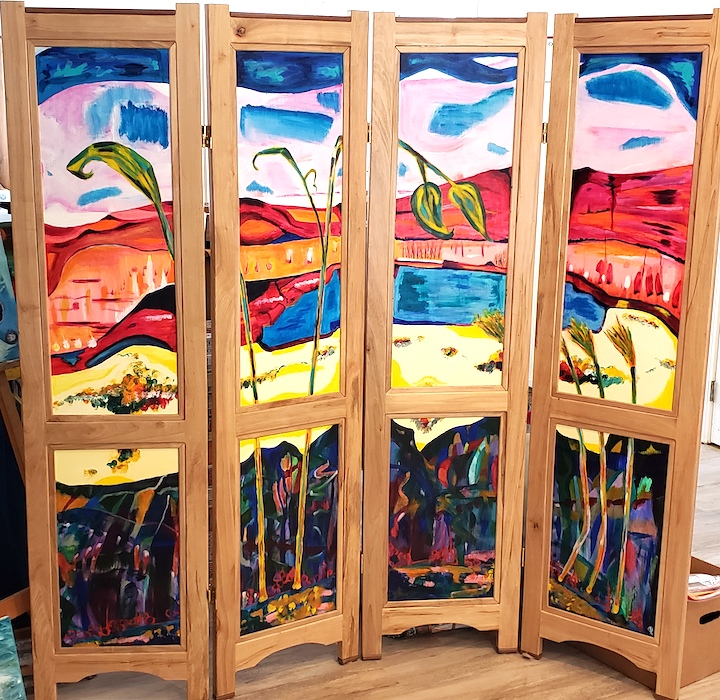 Folding screen, frame by Jonathan A. Wright, painting by Russell Steven Powell