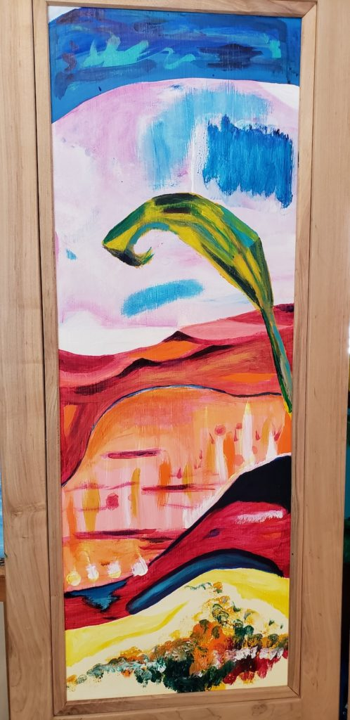 Top panel 1, Russell Steven Powell acrylic on wood, 34x12