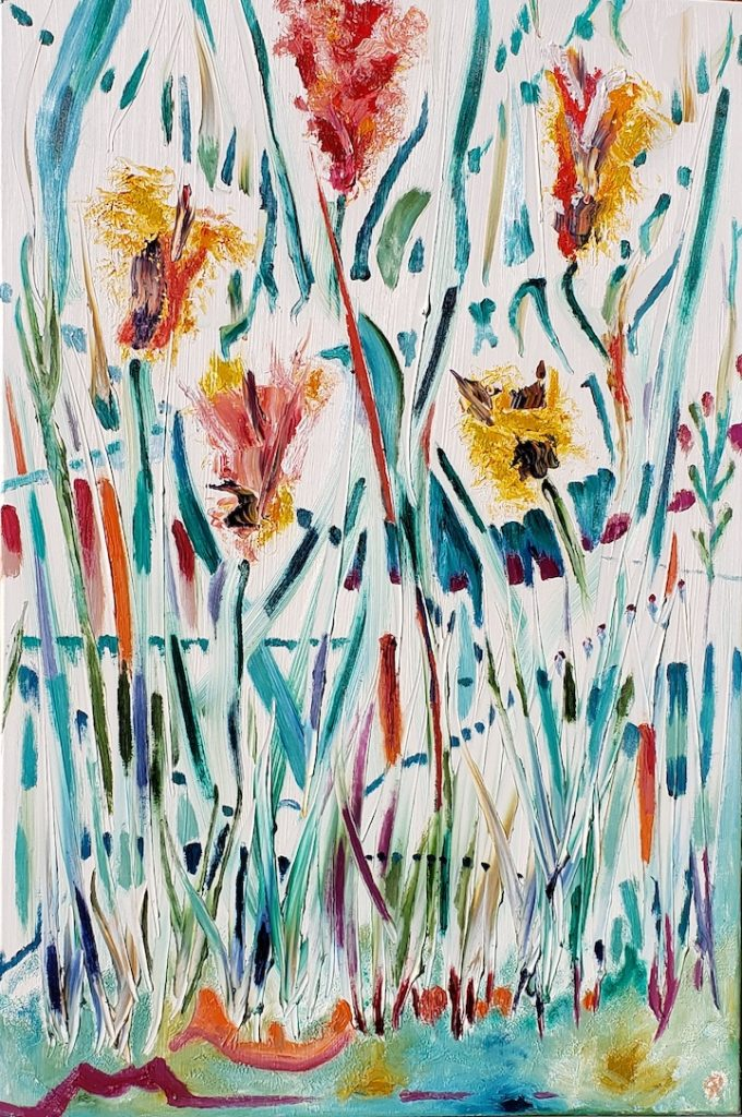 Five Flowers, Russell Steven Powell oil on canvas, 36x24
