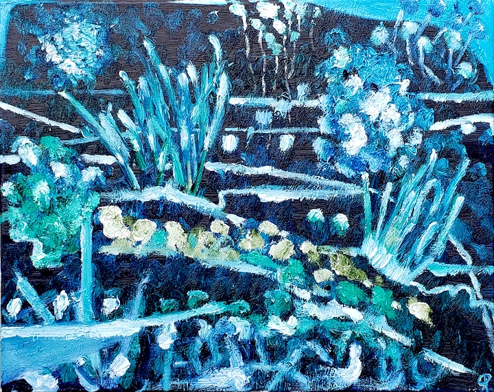 Night Garden, Russell Steven Powell oil on canvas, 16x20