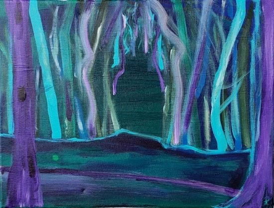 Purple Forest, Russell Steven Powell acrylic on canvas, 11x14
