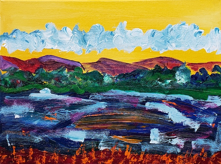 Connecticut River 2, Russell Steven Powell acrylic on canvas, 12x16