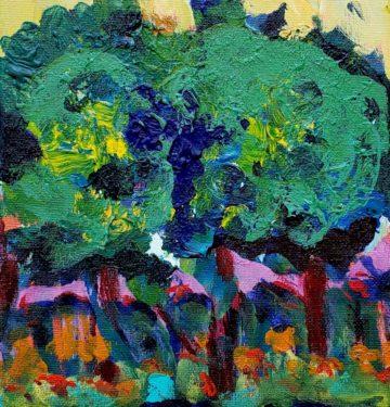 Long Hill (plein air) Russell Steven Powell acrylic on canvas, 10x8