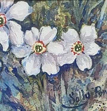 Jonquils, Sally Boyce Powell watercolor on paper, 5x7