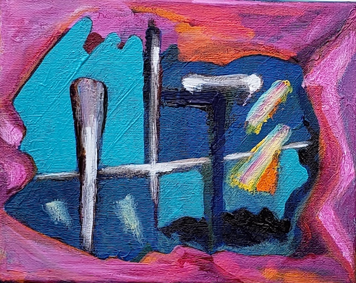 ABSTRACT 101, Russell Steven Powell acrylic on canvas, 8X10