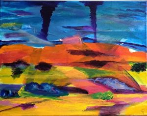 GATHERING STORM, DUNES, Russell Steven Powell acrylic on canvas, 11x14